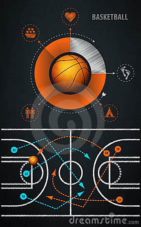Infographics element with sports basketball