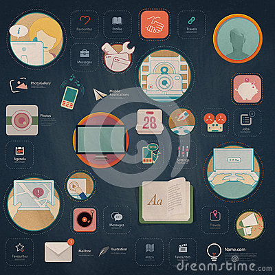 Free Infographics Elements: Collection Of Colorful Flat Kit UI Navigation Elements With Icons For Personal Portfolio Website And Mobile Stock Images - 41243044