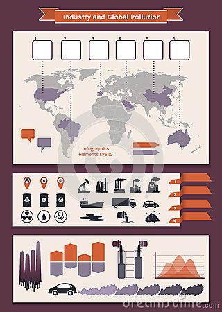 Infographics elements about industry and pollution