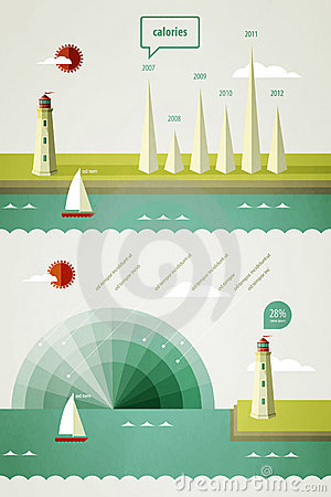 Free Infographics Elements With A Lighthouse Royalty Free Stock Images - 21590089