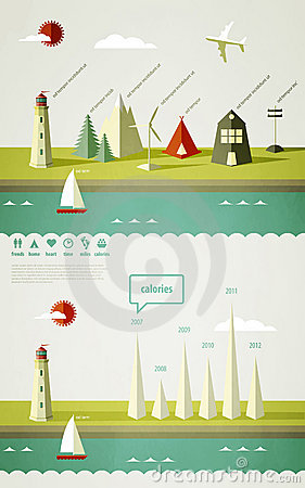 Free Infographics Elements With A Lighthouse Stock Photos - 21590093