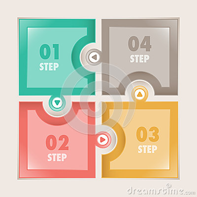 Infographics Four steps Square puzzle