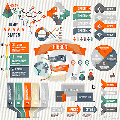Free Infographics Set With Options. Infographic, Ribbon, Logo, Icon And 3d Vector Elements. Social Communication Concept. Stock Photography - 46730232