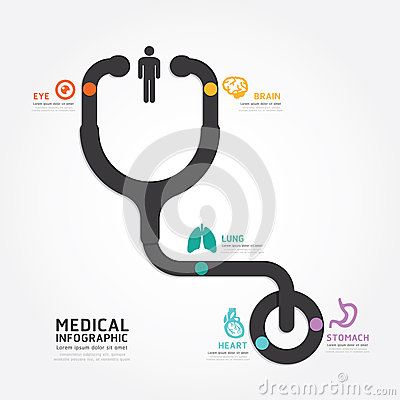Free Infographics Vector Medical Design Stethoscope Diagram Line Stock Photo - 41202850