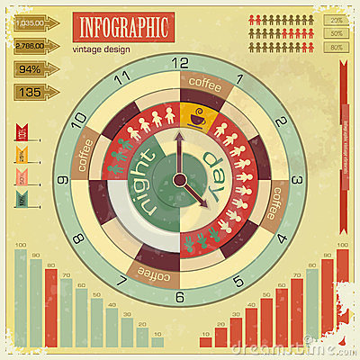 Free Infographics Vintage Elements - Work Time Concept Royalty Free Stock Photo - 23940705