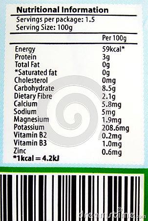 Informação nutritiva da etiqueta