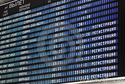 Information board at the airport