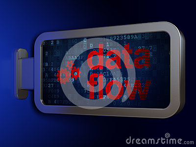 Information concept: Data Flow and Gears on billboard background Stock Photo