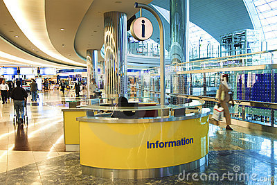 Information desk in Dubai International Airport Editorial Stock Image