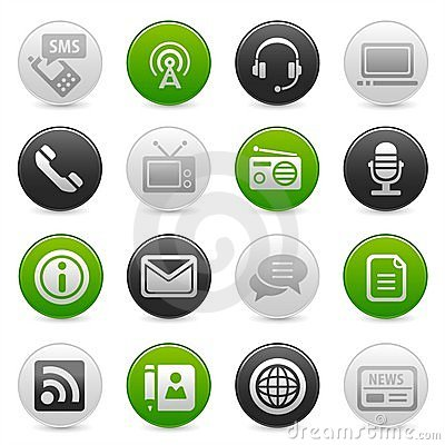 Information society icons on buttons