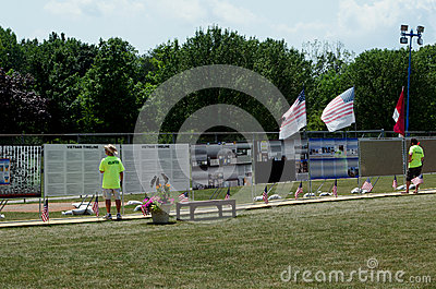 Information at the traveling vietnam wall monument Editorial Image