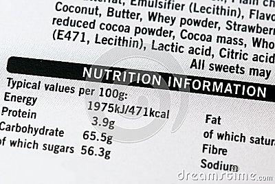 Informazioni di nutrizione