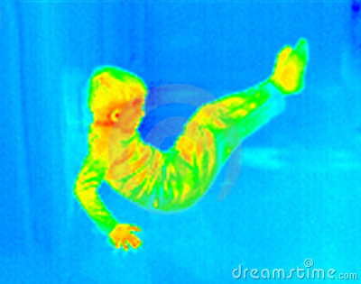 Infrared boy exercising