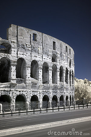 Infrared Colosseo (coliseum) in Rome, Italy