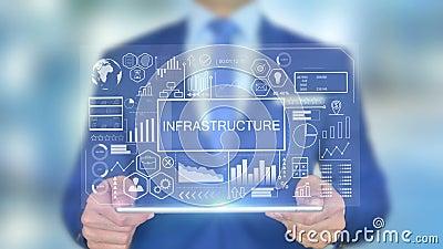 Infrastructuur, zakenman met hologramconcept stock videobeelden