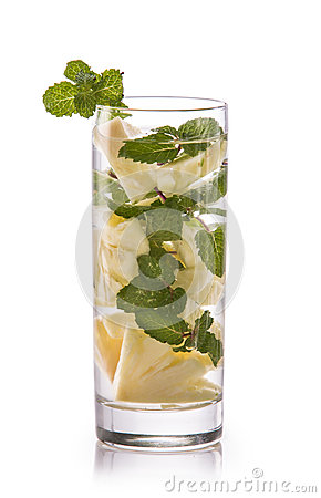 Free Infused Fresh Fruit Water Mint And Pineapple. Isolated Over Whit Royalty Free Stock Photography - 56941127
