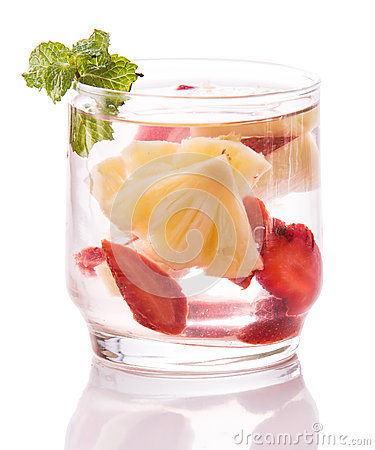 Free Infused Fresh Fruit Water Strawberry And Pineapple. Isolated Ove Royalty Free Stock Photo - 56941195