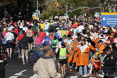 ING New York City Marathon, water line Editorial Photo