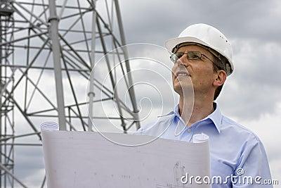 Ingenieur met blauwdruk