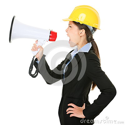 Ingenieur-Auftragnehmerfrau des Megaphons schreiende