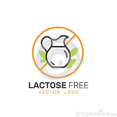 Ingredient Warning Label Icons. Allergens Lactose Diary, Milk. Vegetarian and Organic symbols. Food Intolerance Stock Photo