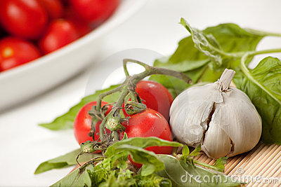 Ingredientes italianos do molho