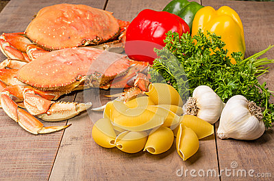 Ingredients for crab pasta