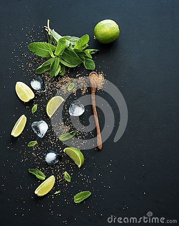 Free Ingredients For Mojito. Fresh Mint, Limes, Ice Royalty Free Stock Images - 55217559