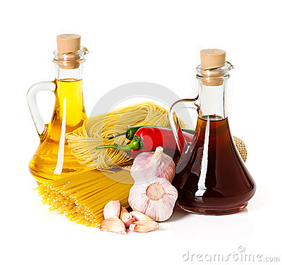 Free Ingredients For Pasta. Spaghetti, Chili, Oil, Garlic Royalty Free Stock Photo - 37918785