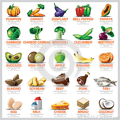 Free Ingredients Icons Set Vegetable Fruit And Meat For Nutrition Foo Royalty Free Stock Photo - 51524235