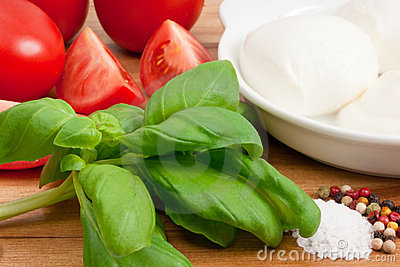 Ingredients for italian caprese