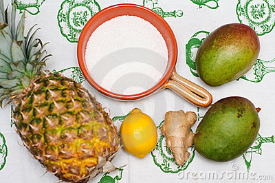 Ingredients for Mango and Pineapple jam