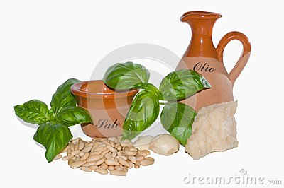 Ingredients of pesto sauce
