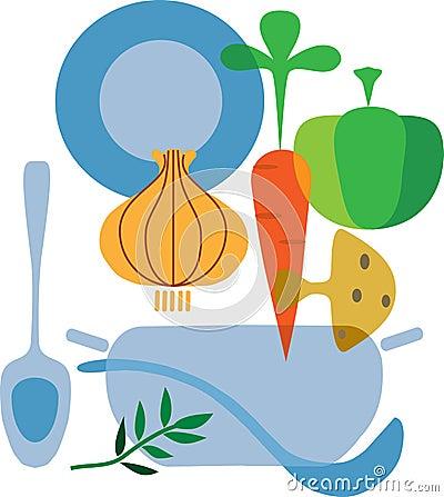 Ingredients of tasty vegetables soup