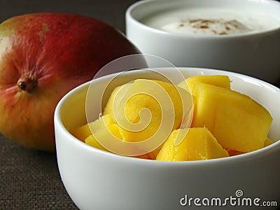 Ingredients to mix Mango Lassi
