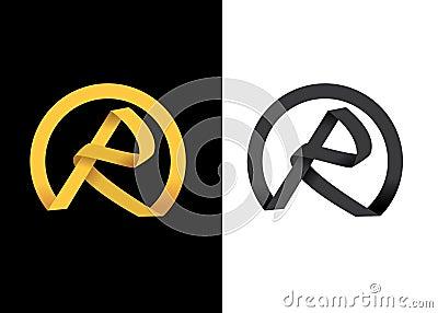 Inicial creativa de oro de la letra R