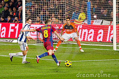 Iniesta shooting a goal Editorial Photography