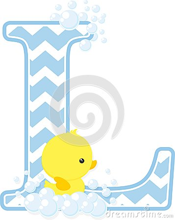 Free Initial L With Bubbles And Cute Baby Rubber Duck Stock Photos - 112001683