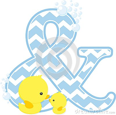 Free Initial & With Cute Baby Rubber Duck Stock Images - 112001864