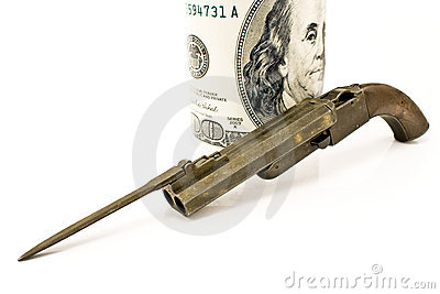 Injetor velho com baioneta e cem contas de dólar