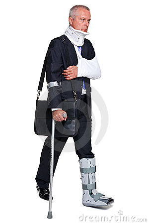 Injred businessman on crutches on white