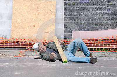 Injured construction worker at work site