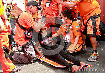 Injured during Feast of Black Nazareno, Philippines Editorial Stock Image