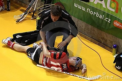 Injured floorball player Editorial Stock Photo