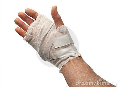 Injured hand, isolated