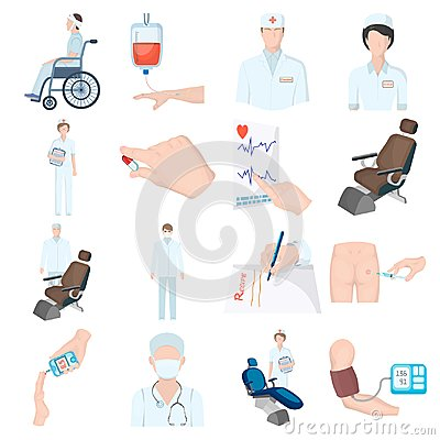Free Injured In A Stroller, Blood Transfusion, Blood Sugar Test, Doctor, Medical Staff. Medicine Set Collection Icons In Stock Photo - 100616690