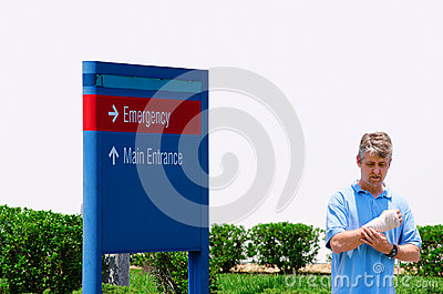 Injured man by Emergency Room