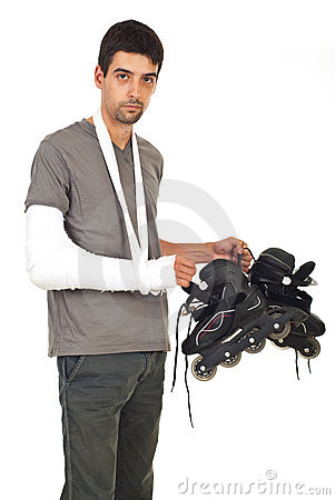 Injured man holding rollerskating