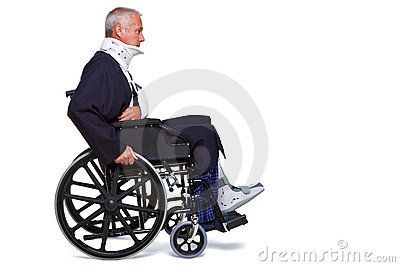 Injured man in wheelchair
