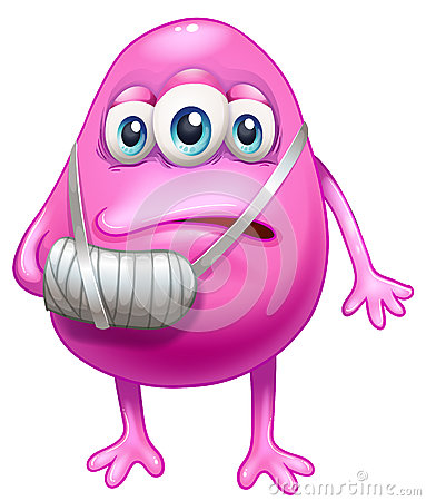 An injured pink monster